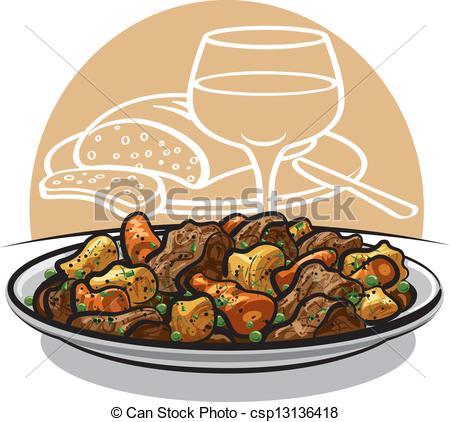 Vector Clip Art of beef stew.