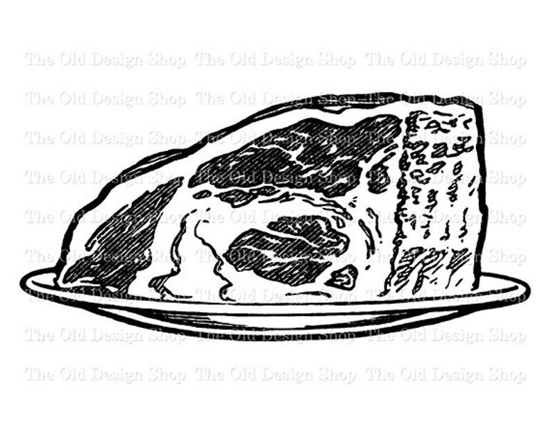 Roast Beef Vintage Food Clip Art Illustration Digital Stamp Transfer Image.