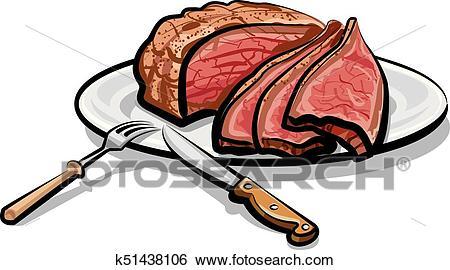 Roast beef meat Clip Art.