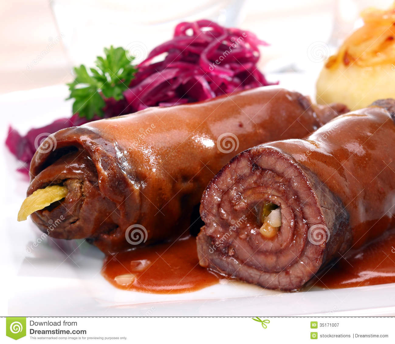 Beef Roulades With A Rich Brown Sauce Royalty Free Stock.