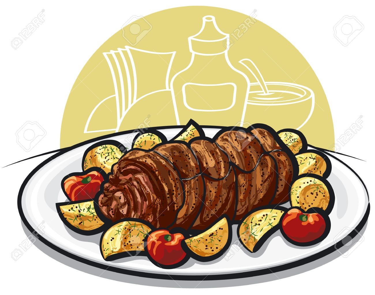Beef Roulade With Roasted Potato And Tomato Royalty Free Cliparts.