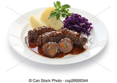 Stock Photo of rinderrouladen, german beef roll.