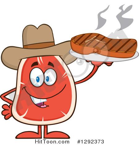Steak Character Clipart #1292373: Cartoon Cowboy Beef Steak Mascot.