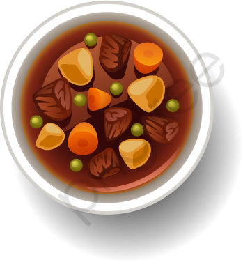 Transparent beef stew vector PNG Format Image With Size 349*376.