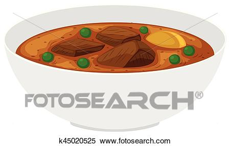 Bowl of beef stew with vegetables Clipart.