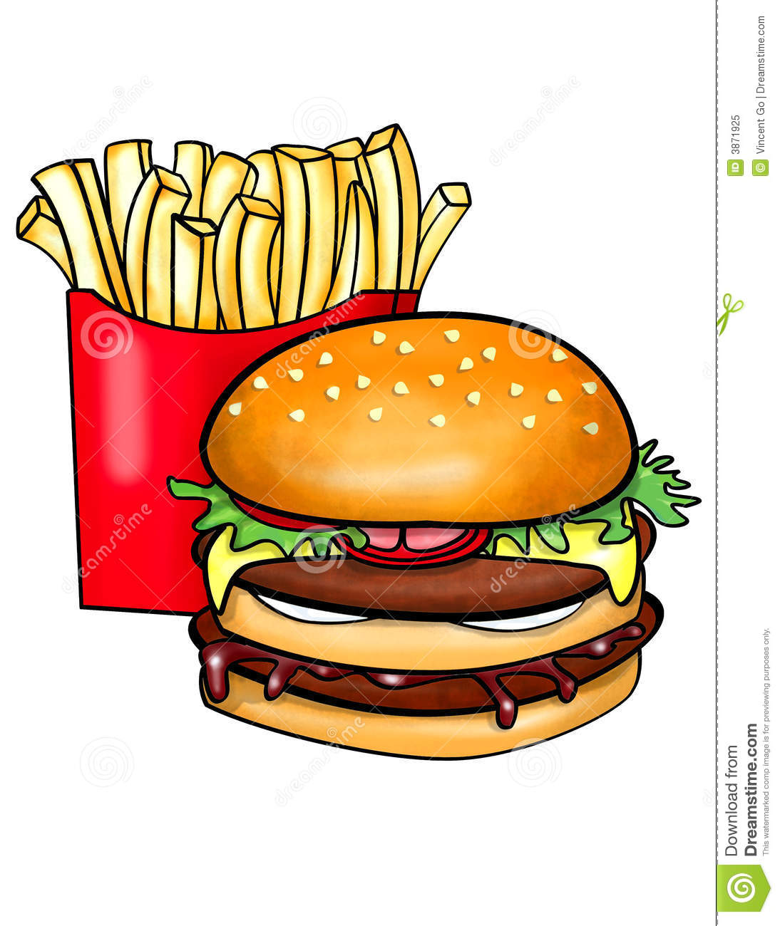 Burger And Chips Clipart.