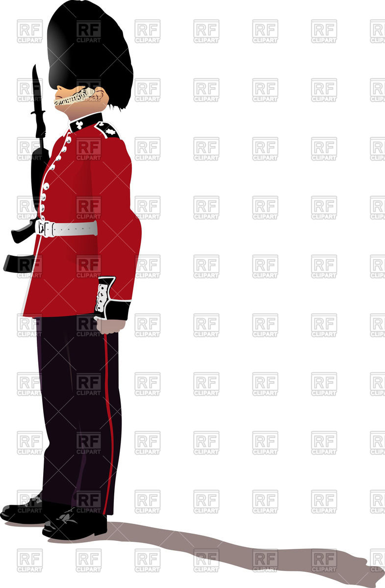 Colorful silhouette of beefeater.