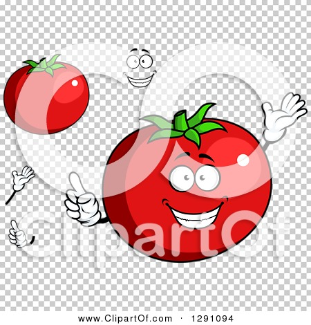 Clipart of a Cartoon Face, Hands and Beefsteak Tomatos.