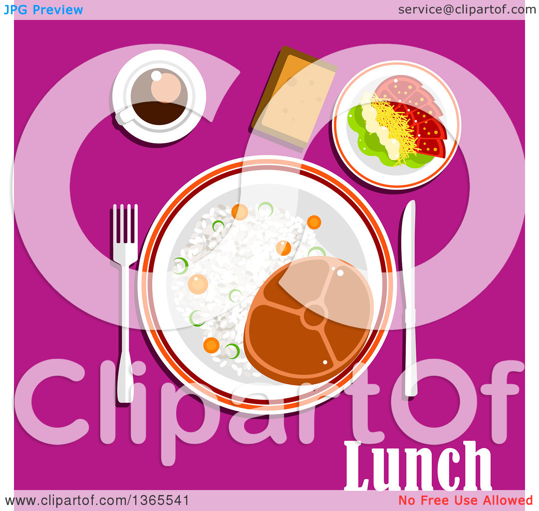 Clipart of a Beef Steak, Rice and Vegetables, Tomato Salad with.
