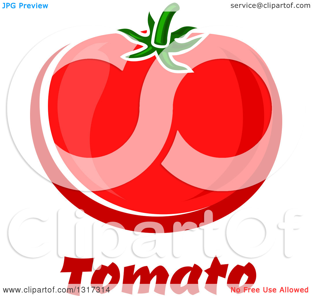Clipart of a Cartoon Plump Red Beefsteak Tomato over Text.