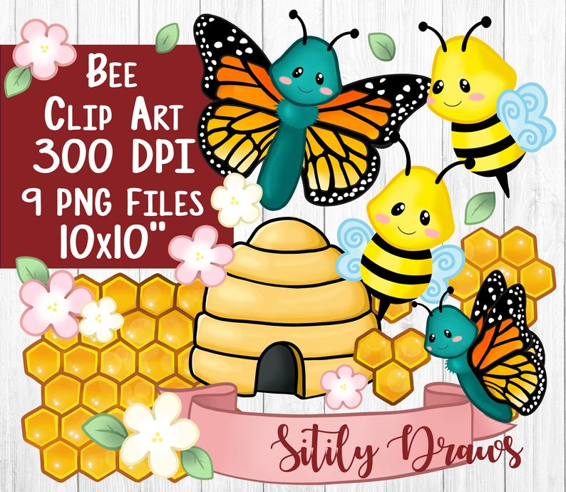 Bee beehive honeycomb butterfly clipart transparent background PNG clip art  digital download hive honeybee monarch art flower.