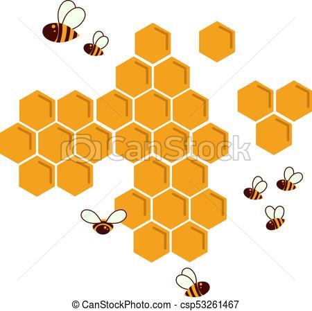 Icon bee honeycomb. Hexagon natural honey struct.