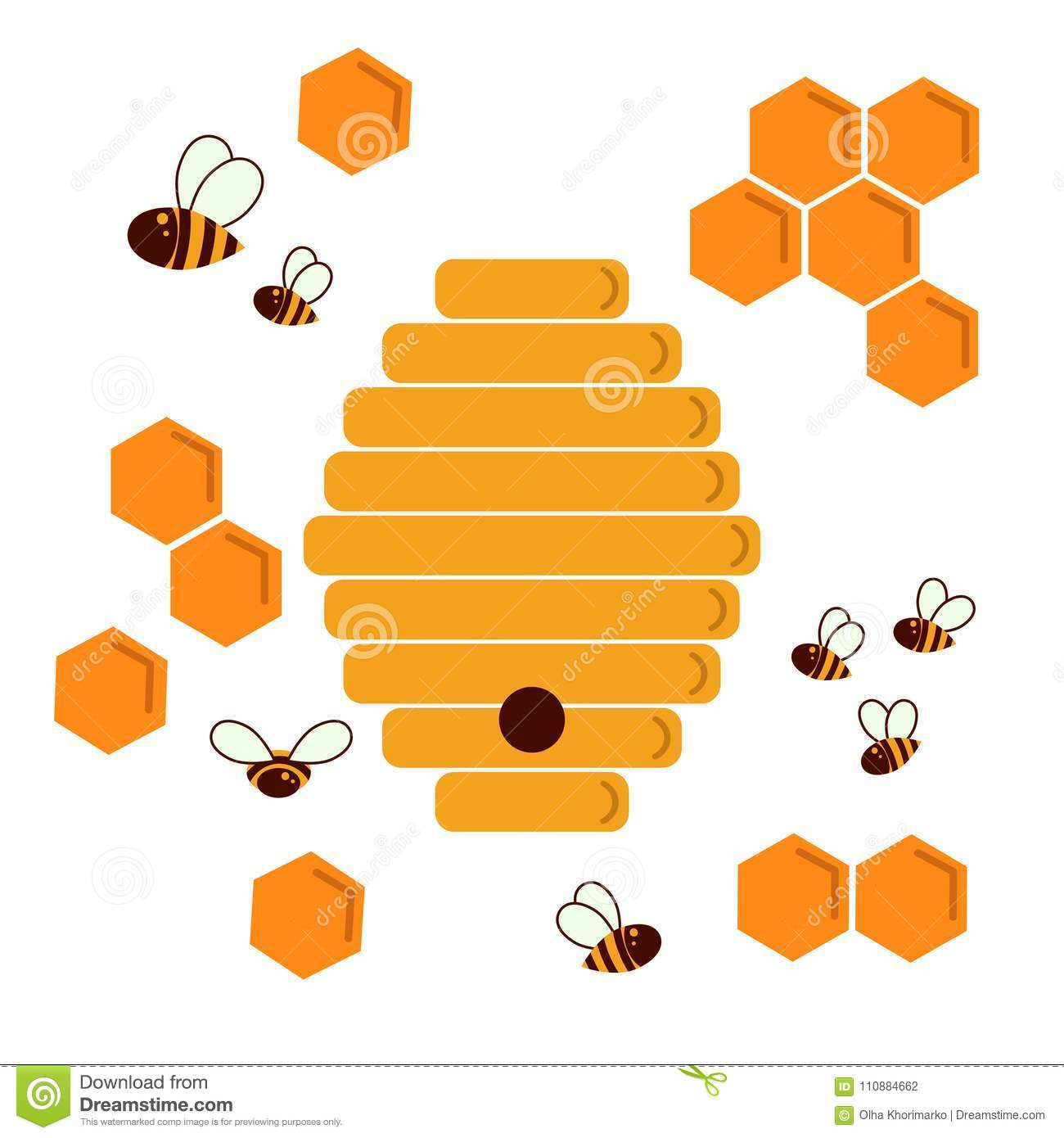 Icon Bee Hive. Hexagon Natural Honey Struct Stock Vector.
