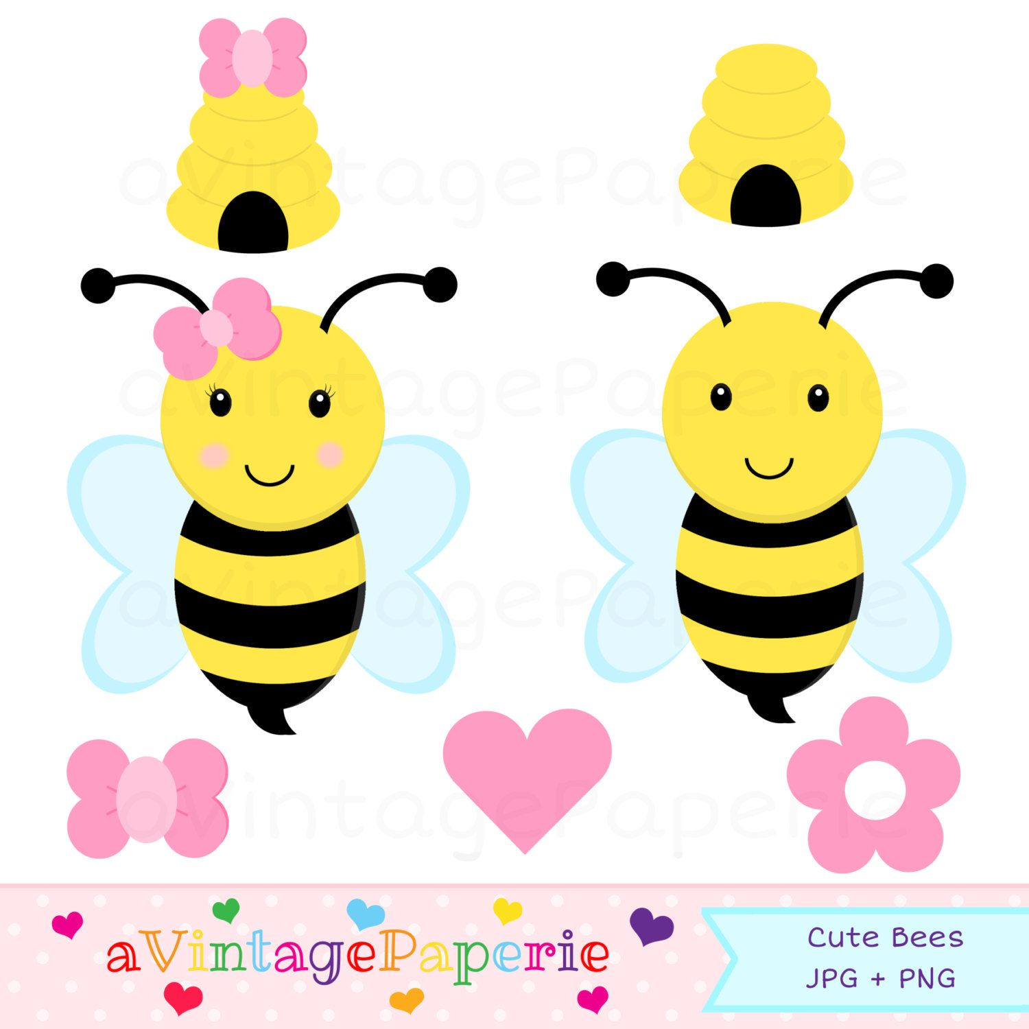 Bumble bee clipart // Bumble bee clip art // Commercial Use Clipart.