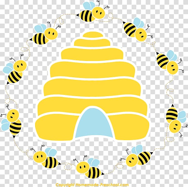 Honey bee Beehive Queen bee , circular border transparent background.