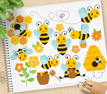 Buzzy Bumble Bee Clipart, Honey Bees, Spring, gardening.