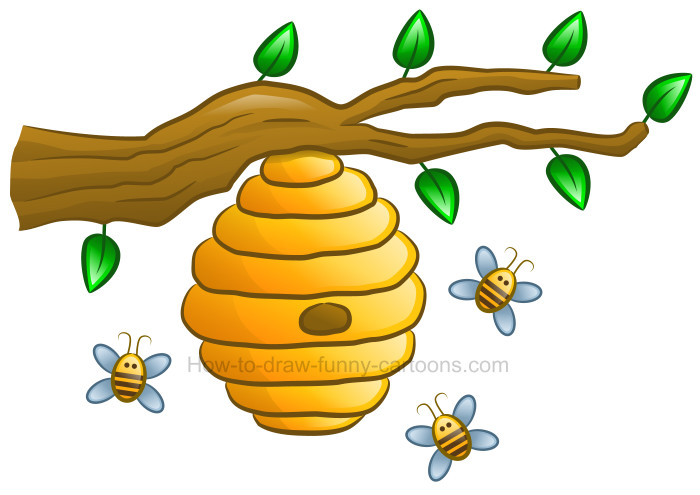 How to Draw a Beehive Clipart.