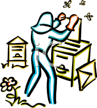Royalty Free Clipart Image: Beekeeper Putting Trays into a Hive.
