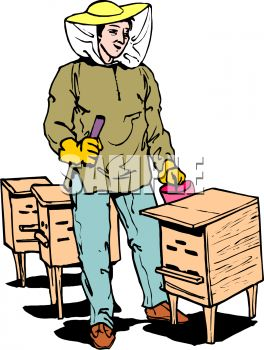 Royalty Free Clip Art Image: Beekeeper Taking Care of Bee Hives.