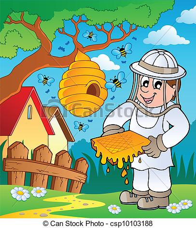 Vector of Beekeeper with hive and bees.
