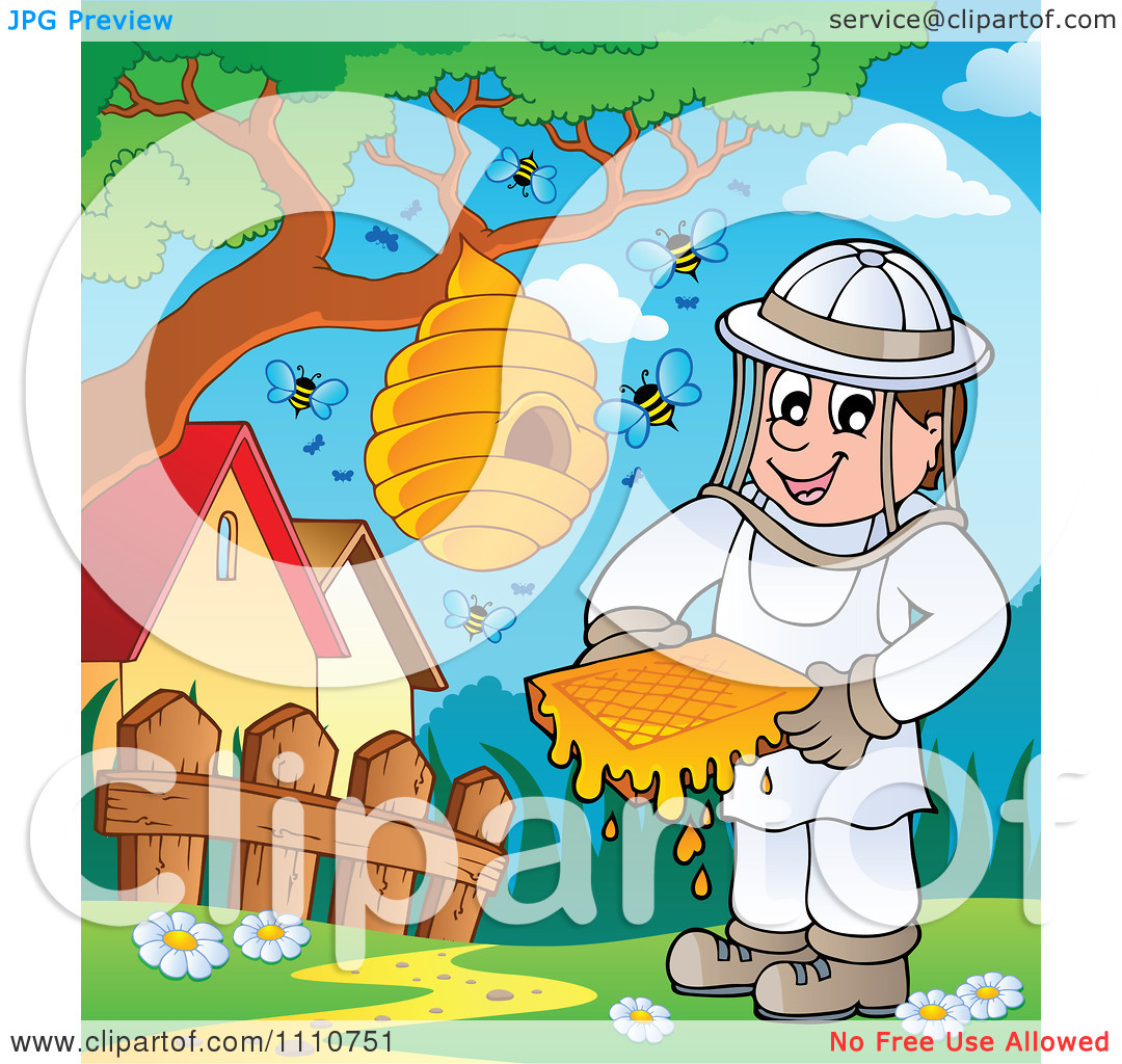 Clipart Happy Beekeeper Holding Honey By A Hive On A Tree.