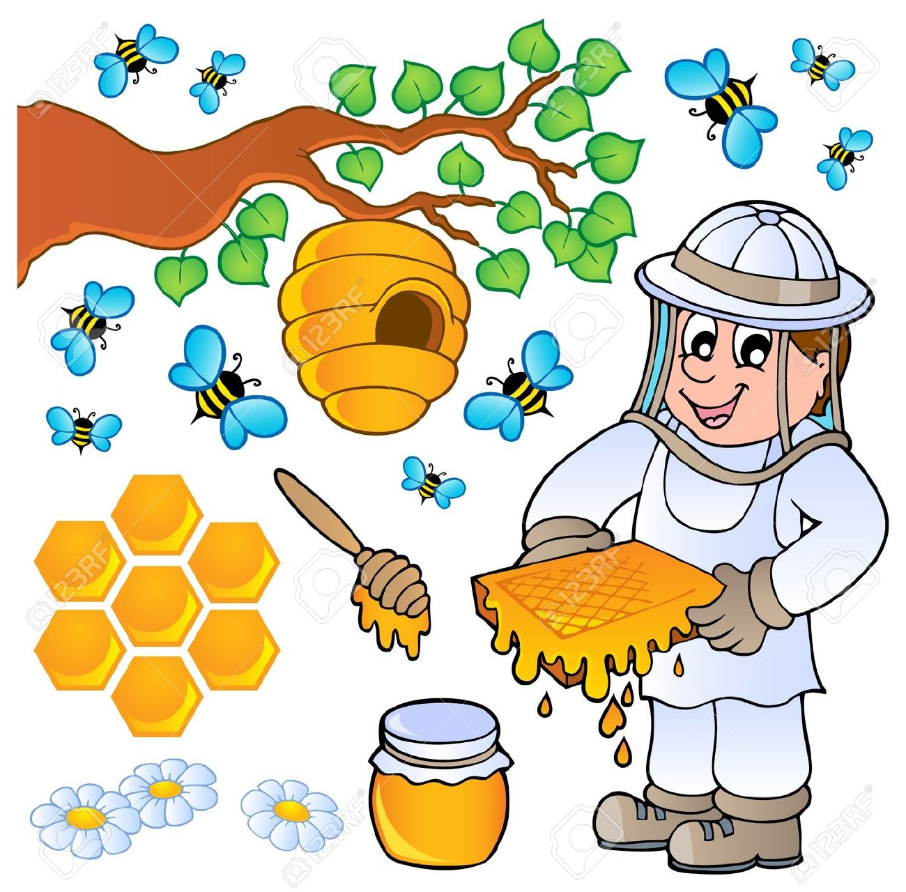 Bee keeper clipart.