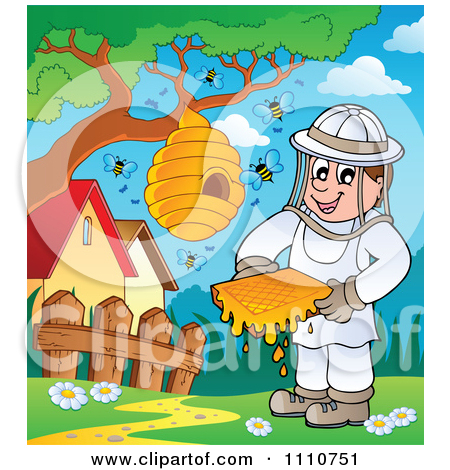 Clipart Bee Keeper With Honey Combs Jar Stick Hive And Bees.