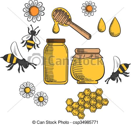 Vectors Illustration of Beekeeping and farm honey icons.