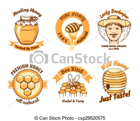 Vectors Illustration of Honey labels and beekeeping logo. Food.