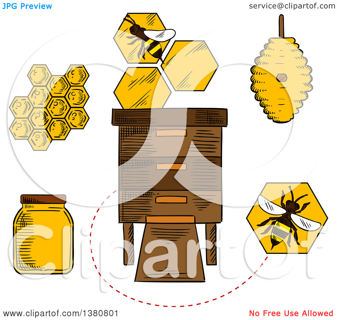 Clipart of Sketched Beekeeping Items and Bees.