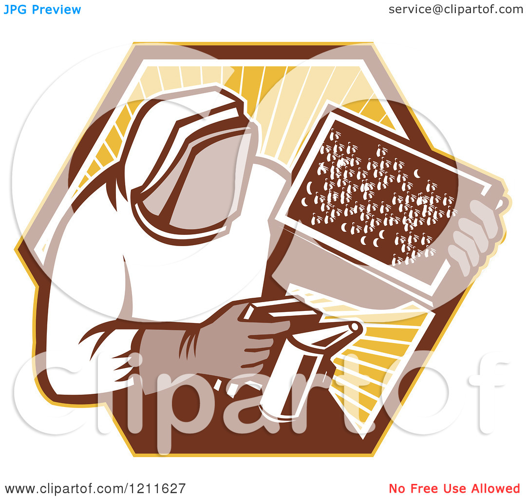 Clipart of a Retro Bee Keeper Holding a Smoker and Frame over an.