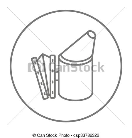Vector Illustration of Bee hive smoker line icon..