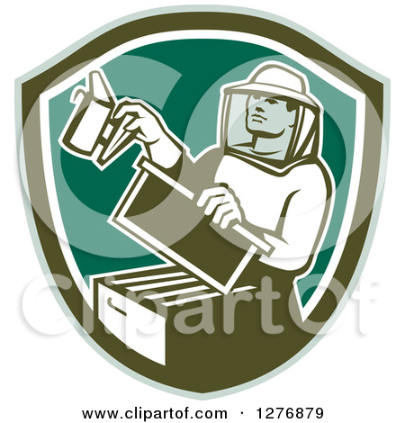 Clipart of a Retro Bee Keeper Holding a Smoker over an Octagon of.