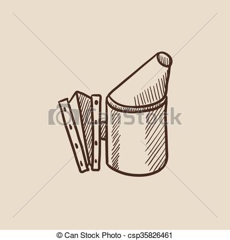 Clip Art Vector of Bee hive smoker sketch icon..