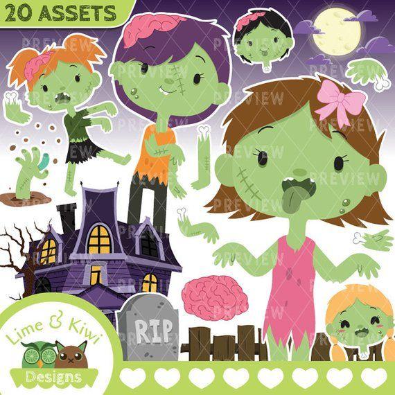 Halloween Zombies Girls Clipart.