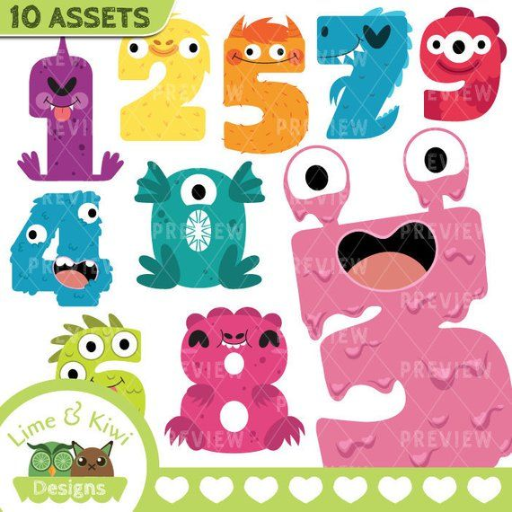 Monster Numbers Clipart.