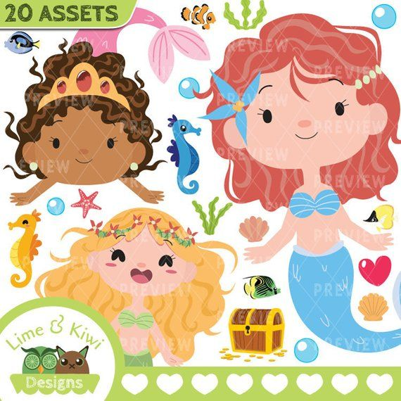 Mermaids Clipart, Instant Download Vector Art, Commercial Use Clip.