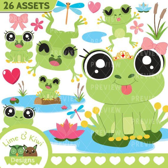 Our Frog Girls vector clipart package has been made with love for.
