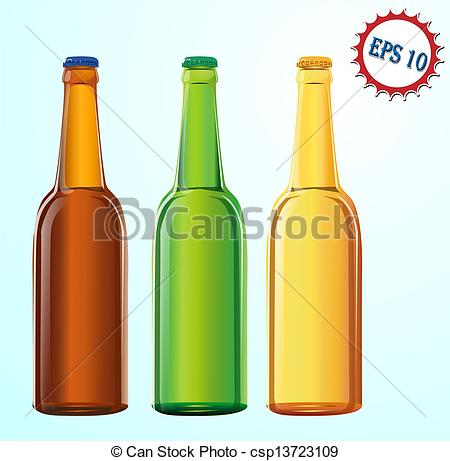 Vector Clipart of beer bottles.