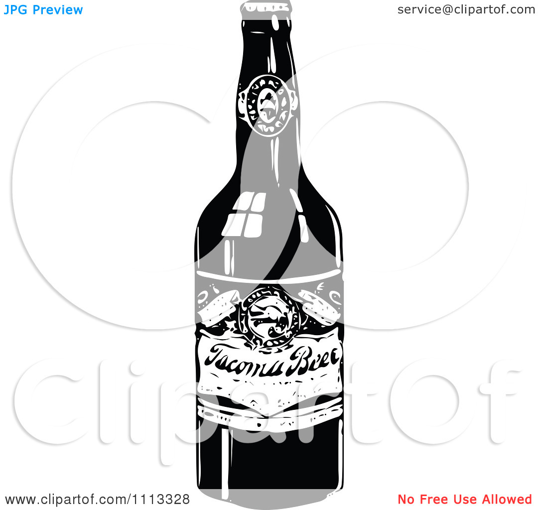 Clipart Vintage Black And White Beer Bottle.