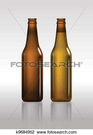 Clipart of Full and empty brown beer bottles k9684952.