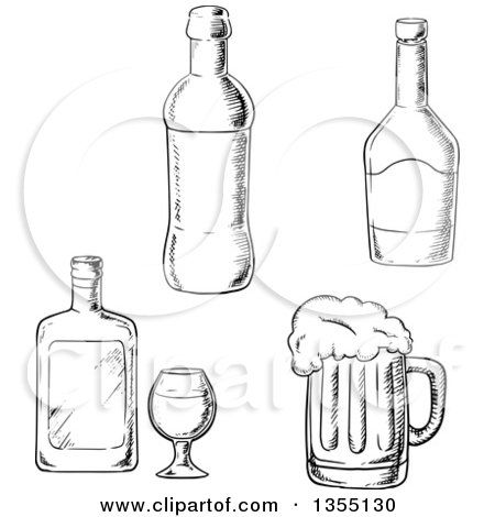 Clipart of Black and White Sketched Bottles of Liquor, and a Beer.