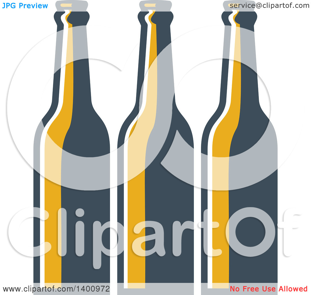 Clipart of a Retro Row of Long Neck Beer Bottles.