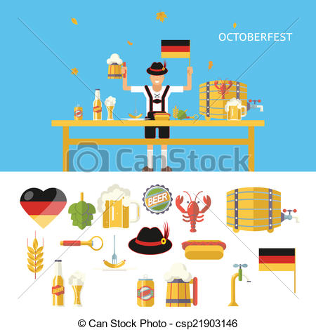 EPS Vector of Retro Octoberfest Symbols Beer Alcohol Accessories.