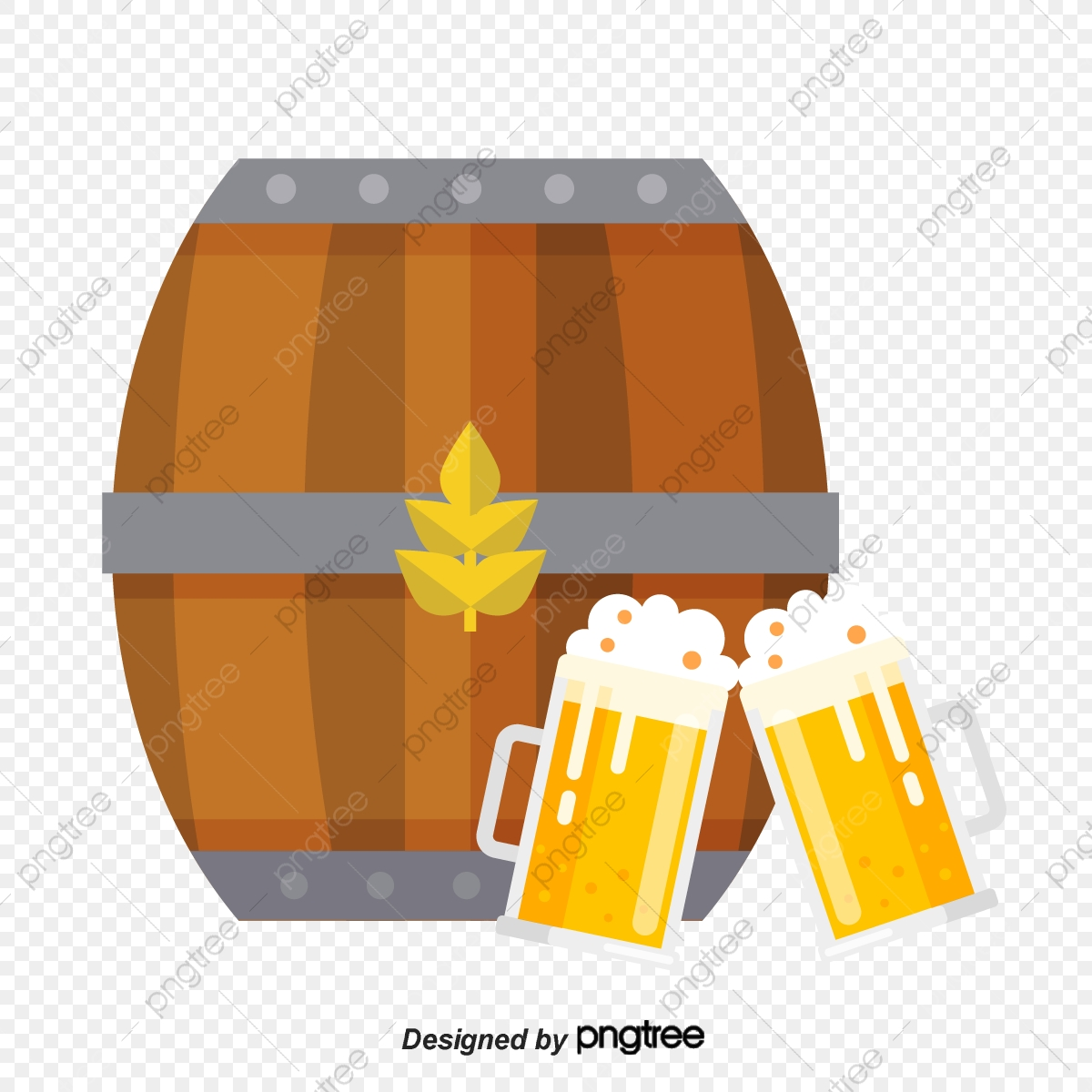 Beer And Wine Barrels, Beer Clipart, Wine Clipart, Liqueur PNG.