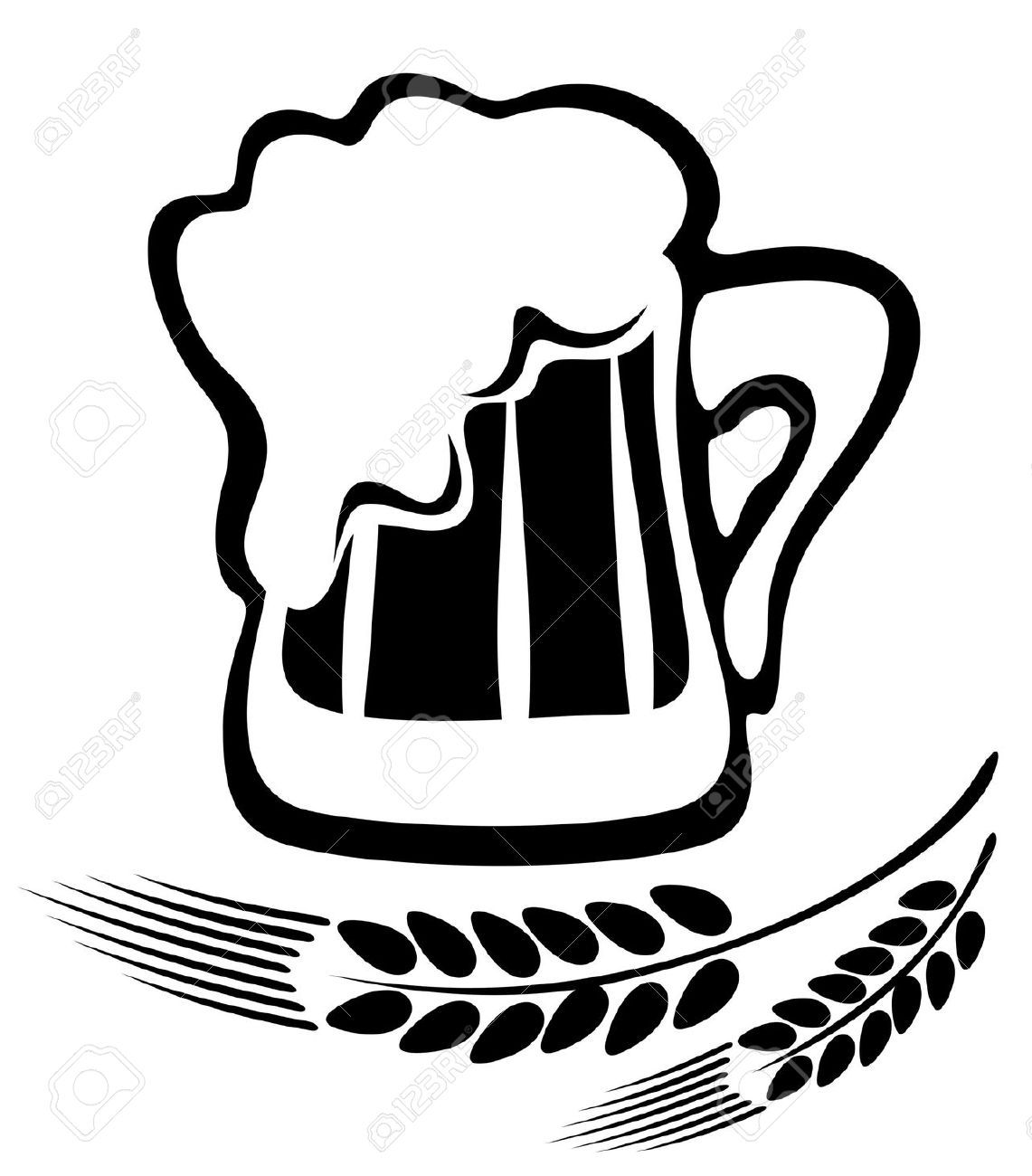 Beer Mugs Clipart Black And White images.