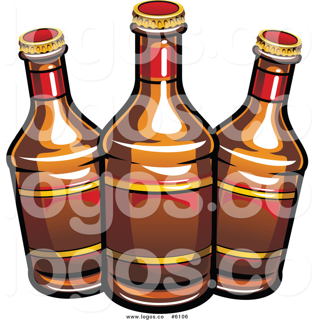 Royalty Free Clip Art Vector Logo of Three Beer Bottles by Vector.