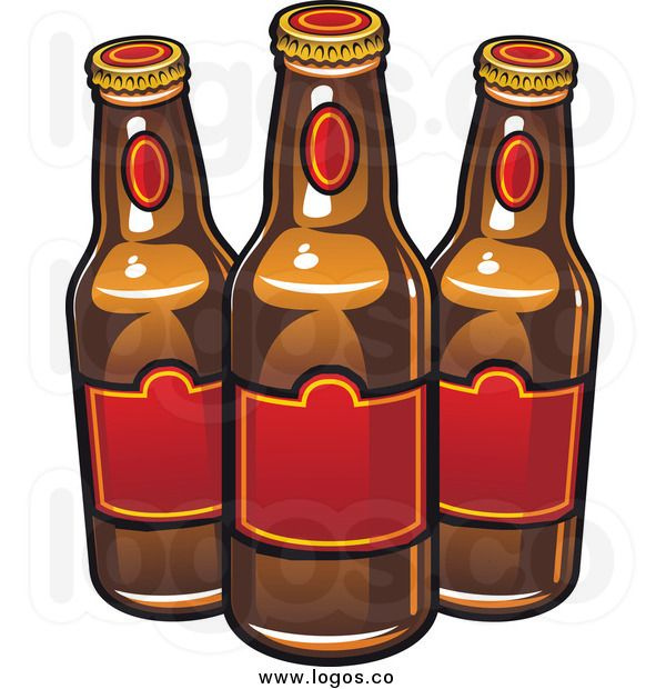 Royalty Free Clip Art Vector Logo of Beer Bottles with Red Labels.