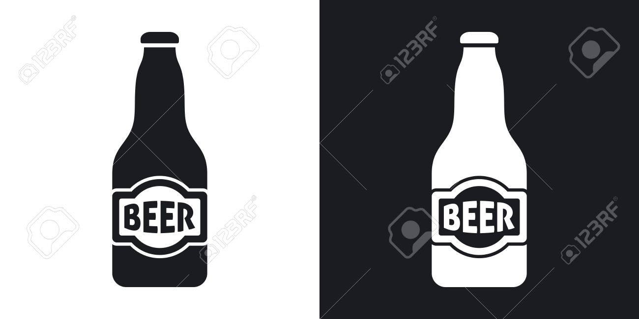 Vector beer bottle icon. Two.