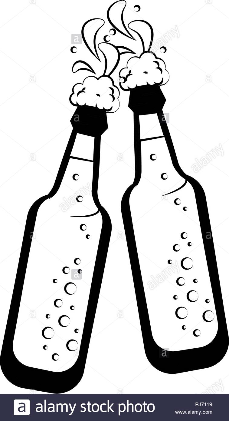 Beer bottles isolated in black and white Stock Vector Art.